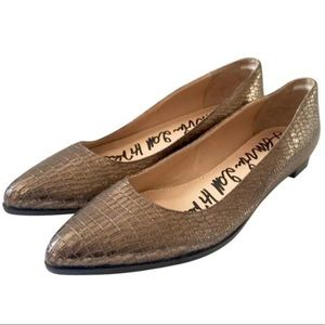 Lanvin bronze flats crocco embossed leather